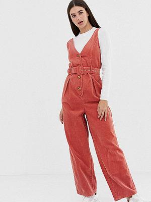 Asos Tall Röd tegelfärgad jumpsuit i manchester med bälte