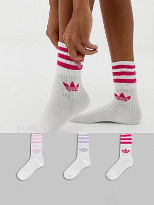 Adidas Originals Solid Crew Rosa strumpor i 3-pack