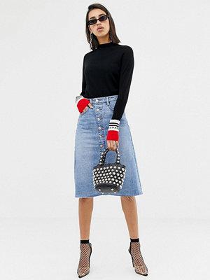 Kjolar - Miss Sixty A-linjeformad jeanskjol med knäppning Blå denim