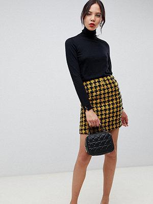 Asos Tall Hundtandsmönstrad rutig minikjol med asymmetrisk dragkedja Yellow/ black