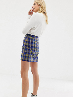 Parisian Tall Rutig a-linjeformad minikjol Yellow and blue chec