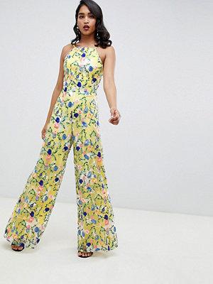 ASOS Edition Jumpsuit med halterneck och broderade blommor