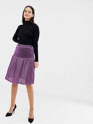 UNIQUE21 Plisserad glitterkjol med hög midja Purple glitter