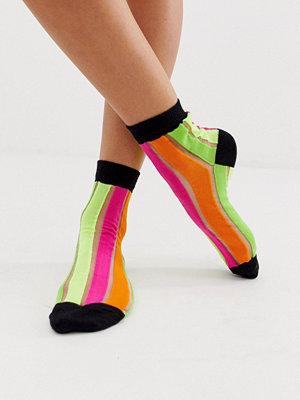 ASOS DESIGN Strumpor med neonfärgade ränder Flerfärgad