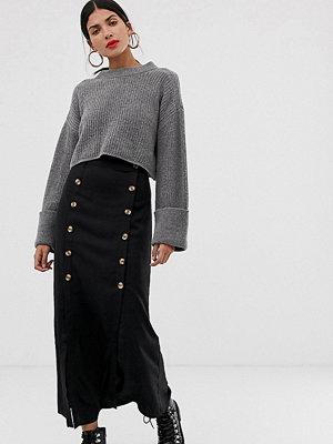 Kjolar - Vero Moda Tall Svart midikjol med dubbel slits och knappar