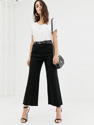 DL1961 Hepburn Ankellånga jeans med vida ben och råskuren nederkant Ashwell