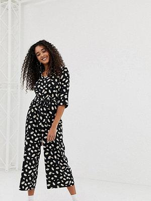 Wednesday's Girl Jumpsuit med omlott och abstrakt mönster Abstrakt svart