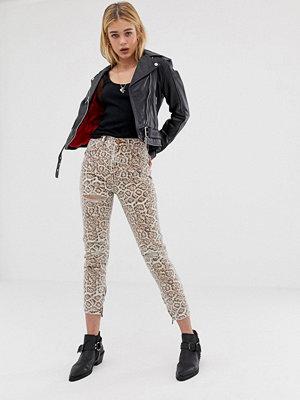 One Teaspoon Freebirds Leopardmönstrade skinny jeans med hög midja Leopard