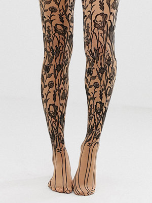Strumpbyxor - Wolford Wildflower Skira tights Beige/svart