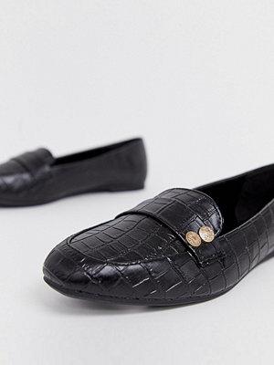 New Look Svarta loafers med myntdetalj