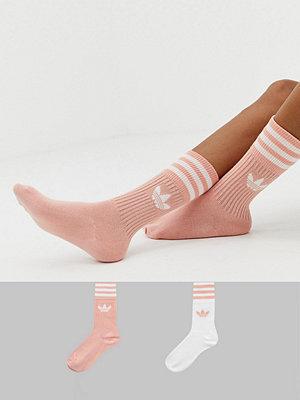 Adidas Originals Solid Crew Rosa strumpor i 2-pack