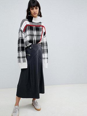 ASOS DESIGN Premium Kiltkjol i midimodell i skinn