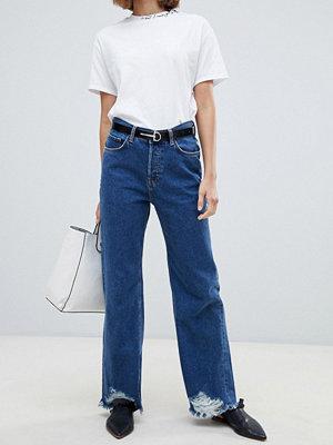 Mango Wide leg jeans med råkant Jeansblå