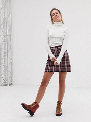 New Look Rutig minikjol med skärp Rosa mönster