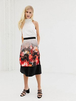 Closet London Closet Mönstrad veckad kjol med bård