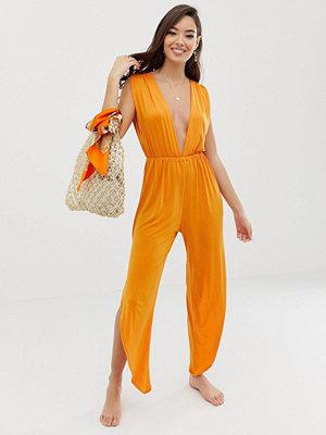 ASOS DESIGN Orange strand jumpsuit med slits Mörkorange