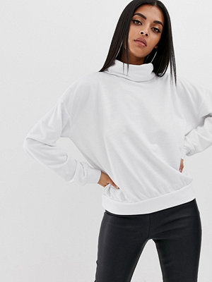 PrettyLittleThing Vit sweatshirt med polokrage
