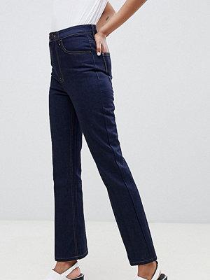 Asos Tall Indigoblå ankellånga jeans med utsvängda ben i återvunnet Egerton-tyg Ren indigoblå