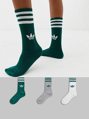Adidas Originals Solid Crew Gröna strumpor i 3 pack