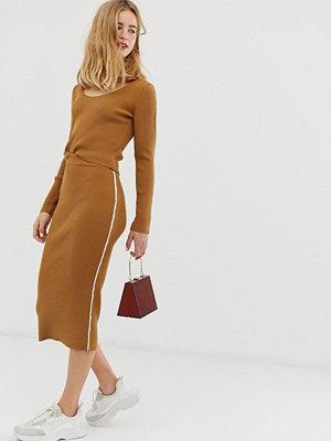 ASOS DESIGN Ribbstickad kjol med kantband