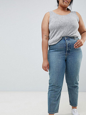 ASOS Curve Recycled Florence Blå jens med raka ben Ljus stentvätt