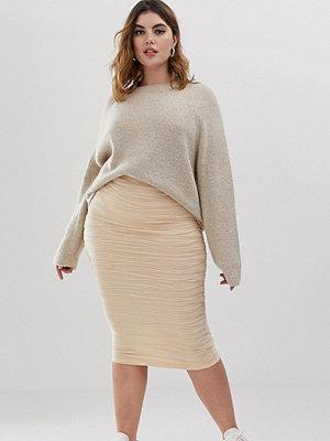 Kjolar - ASOS Curve Texturerad midikjol i jacquard Nude