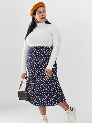 Kjolar - Glamorous Curve Småblommig midaxi-kjol i vintagestil och satin