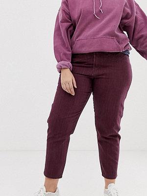 ASOS Curve Ritson Oxblodsfärgade mom jeans med sömdetalj Rödrandig