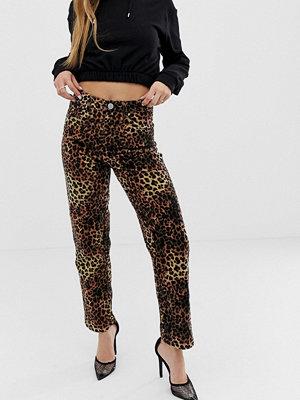 ASOS DESIGN Farleigh Leopardmönstrade straight sammetsjeans med hög midja Leopard