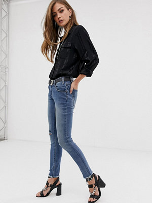 One Teaspoon Freebirds Skinny jeans med slitna knän och broderad text Blue blonde