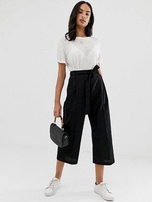 ASOS DESIGN Culotte-byxor i linnetyg med knytning i midjan