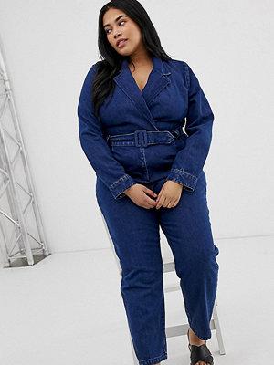 ASOS Curve Blå jumpsuit i denim i blazermodell Blå tvätt