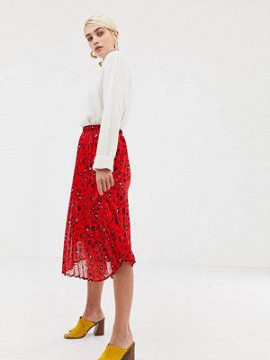 Selected Femme Abstrakt leopardmönstrad kjol med plissering Flerfärgad