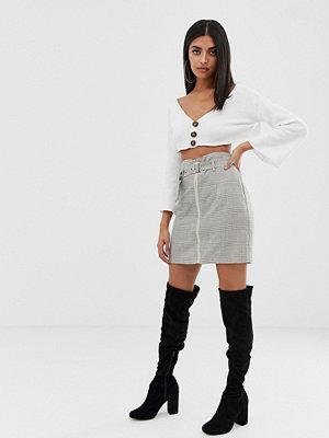 PrettyLittleThing Rutig kjol med dragkedja fram Beige