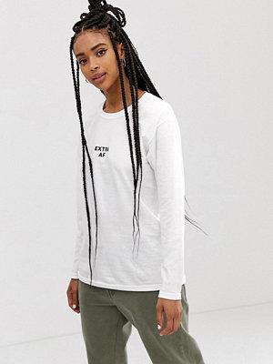 Adolescent Clothing Långärmad t-shirt med slogan Vit/svart