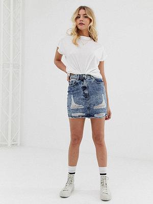 Parisian Stentvättad jeans kjol med revor Stentvätt