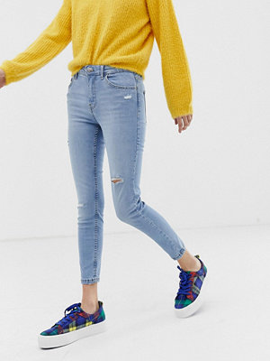 Bershka Blå ankellånga skinny jeans