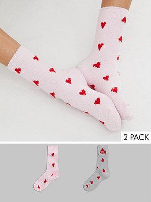 Strumpor - Hunkemoller Darling 2-pack hjärtmönstrade strumpor Rosa och grå