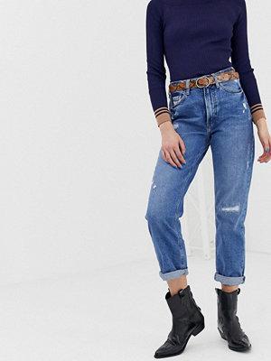 River Island Mellanblå mom jeans med revor Mid auth