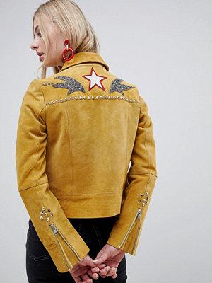 Skinnjackor - Muubaa Cowboyinspirerad mockajacka Mustard senapsgul