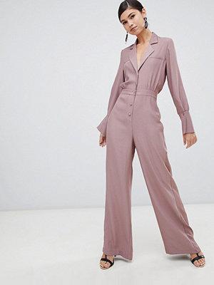 ASOS DESIGN Minimal smoking-jumpsuit med vida ben och satängdetalj Gammelrosa