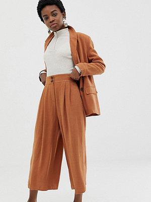 ASOS Petite Culotte-byxor i linnetyg Sadelbrun