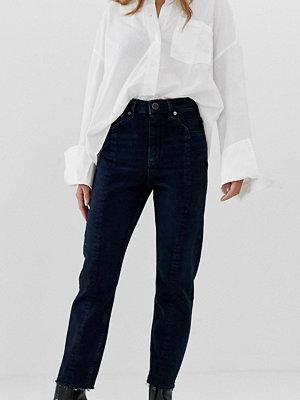 ASOS Petite Recycled Farleigh Mörkblå slim mom jeans med hög midja och sömdetalj framtill Mörkblå
