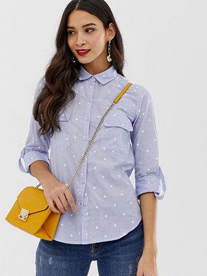 Oasis Blå skjorta med broderade prickar Blåtoner
