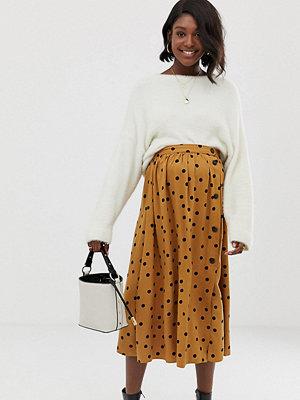 ASOS Maternity Prickig midiklänning med knappar framtill Brown/black