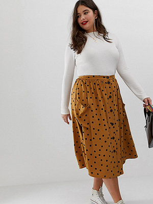 ASOS Curve Prickig midikjol med knappar framtill och stora fickor Brown/black