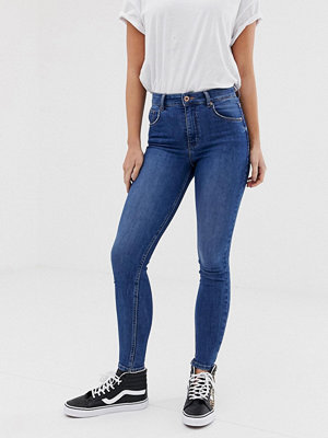 Bershka Blå skinny jeans med extremt hög midja