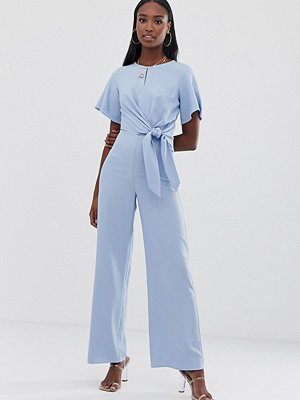 Missguided Tall Blå jumpsuit med knytdetalj