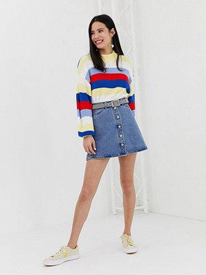 Monki Blå a-linjeformad kjol med knappar