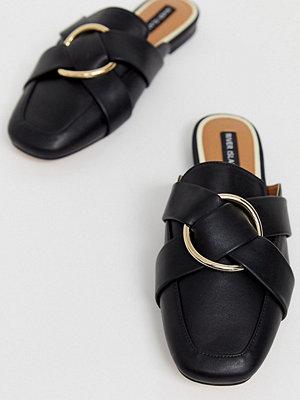 River Island Svarta loafers i toffelmodell med knut